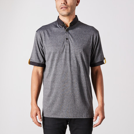 Richard Polo Button Up // Black + Gray (Small)