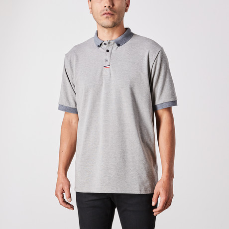 Jordan Polo Button Up // Light Gray (Small)