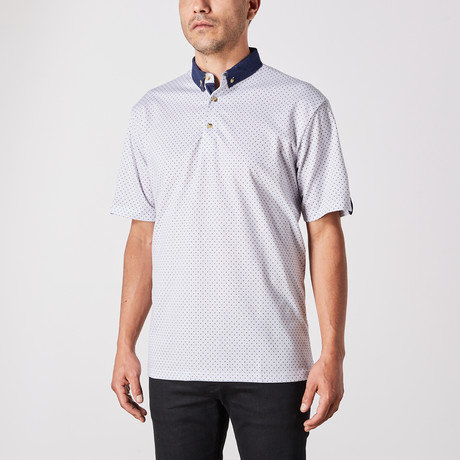 St. Lynn // Vincent Polo Button Up // White + Blue (Small)