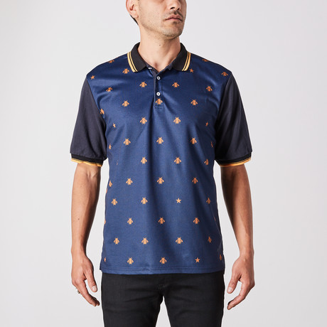 Simon Polo Button Up // Black + Blue (Small)