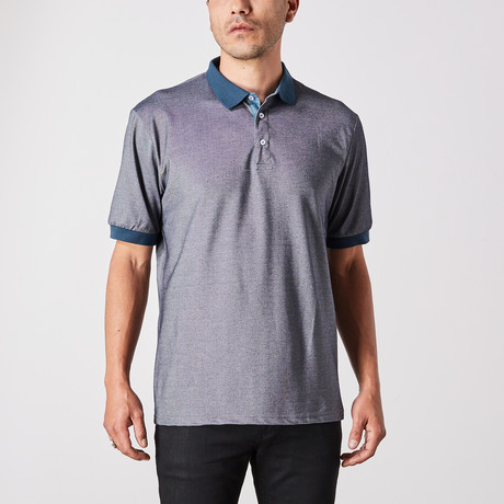 St. Lynn // Jacob Polo Button Up // Gray + Blue (Small)