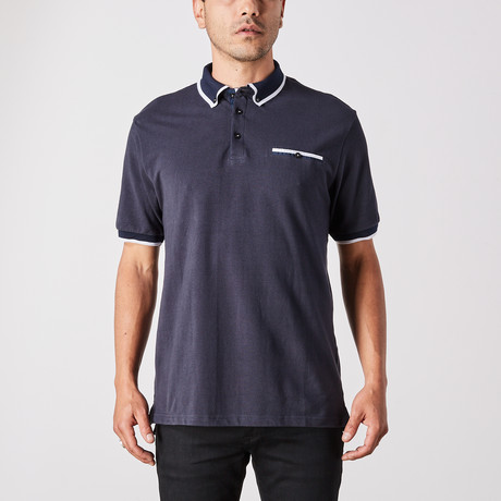 Lucas Polo Button Up // Navy (Small)