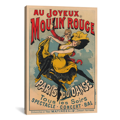 "Au Joyeux Moulin Rouge, Paris Qui Danse Advertisement, 1900 // Alfred Choubrac (26""W x 40""H x 1.5""D)"