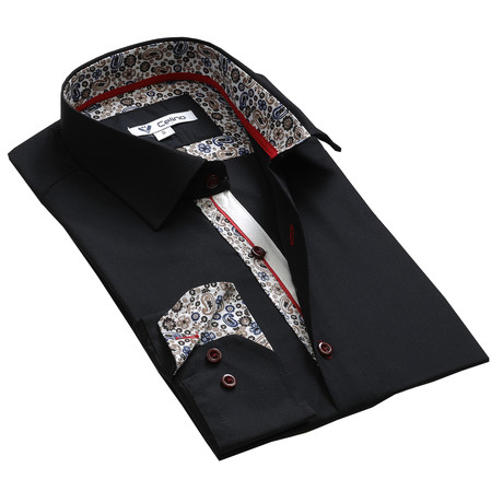 Reversible Cuff Button-Down // Black Paisley (S)