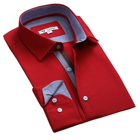 Celino // Reversible Cuff Button-Down Shirt // Red + Blue (S)