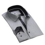 Reversible Cuff Button Down Shirt // White + Gray (S)