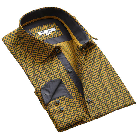 Circle Reversible Cuff Button Down Shirt // Dark Yellow + Gray (S)