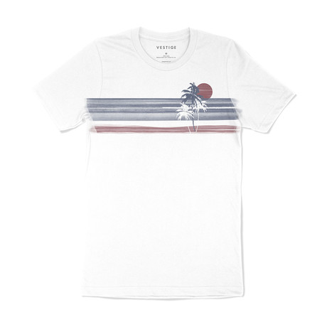 Palm Isle Stripe Graphic T-Shirt // White (S)