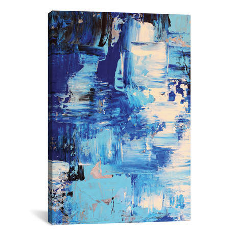 "Blue Abstract I // Radiana Christova (18""W x 26""H x 1.5""D)"