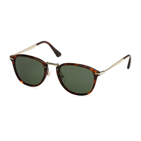 Men's Classic Rectangle Sunglasses // Havana Gold + Green