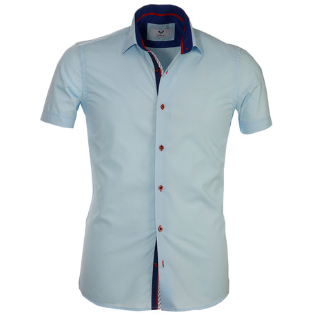 Short Sleeve Button Up // Solid Sky Blue (S)