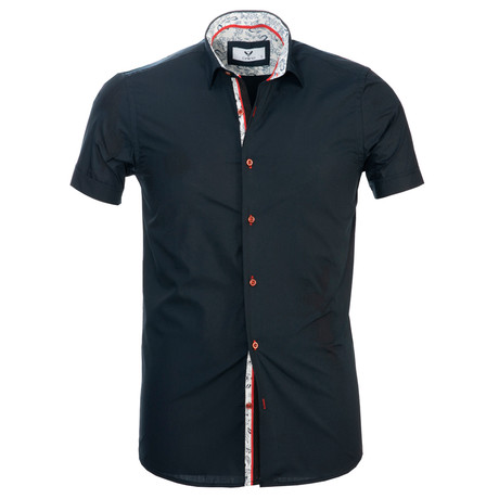 Short Sleeve Button Up // Solid Navy Blue (S)