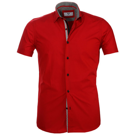 Short Sleeve Button Up // Solid Red (S)