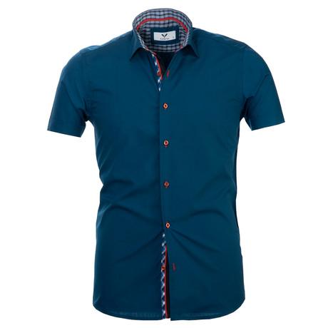 Short Sleeve Button Up // Solid Medium Blue (S)