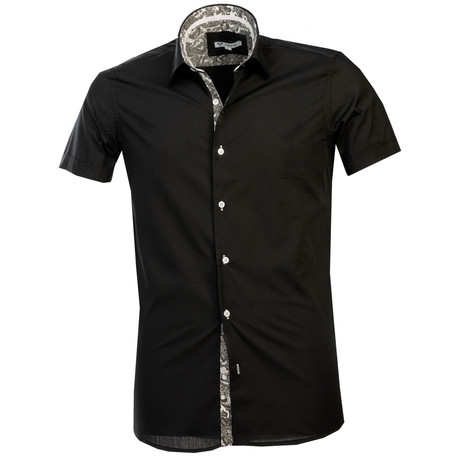 Short Sleeve Button Up // Black + White Paisley (S)