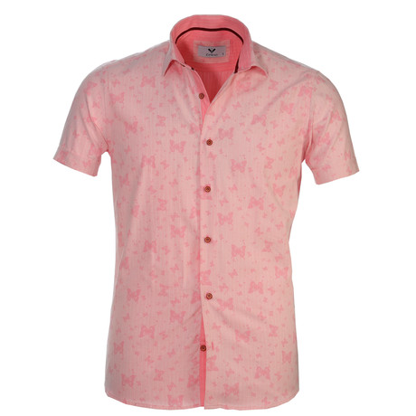 Short Sleeve Button Up // Pink (S)