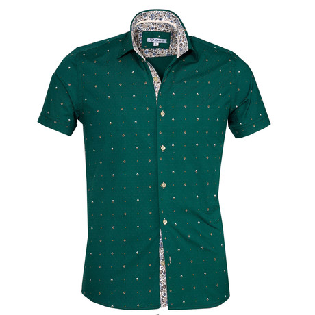 Short Sleeve Button Up // Dark Green Floral (S)