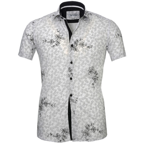 Short Sleeve Button Up // White + Black Floral I (S)