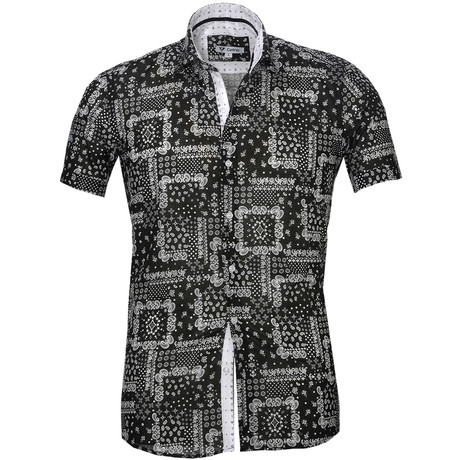 Short Sleeve Button Up // Black + Gray Paisley (S)