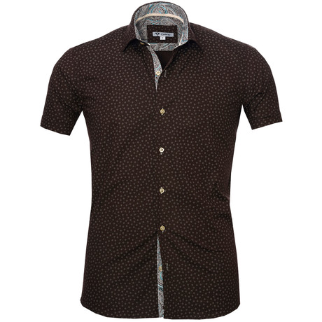 Short Sleeve Button Up // Chocolate Brown + Blue Paisley (S)
