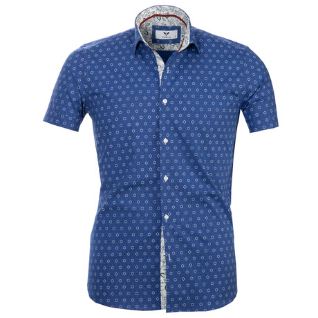Short Sleeve Button Up // Blue + White Circles (S)
