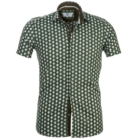 Short Sleeve Button Up // Green + White (S)