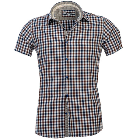 Short Sleeve Button Up // Brown + Blue Checkered (S)