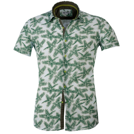 Short Sleeve Button Up // White + Green Palms (S)