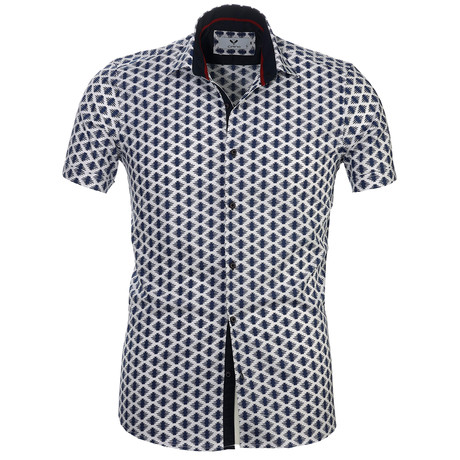 Short Sleeve Button Up // Blue + White (S)