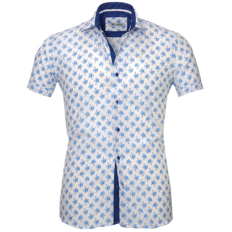 Short Sleeve Button Up I // White + Blue Floral (S)