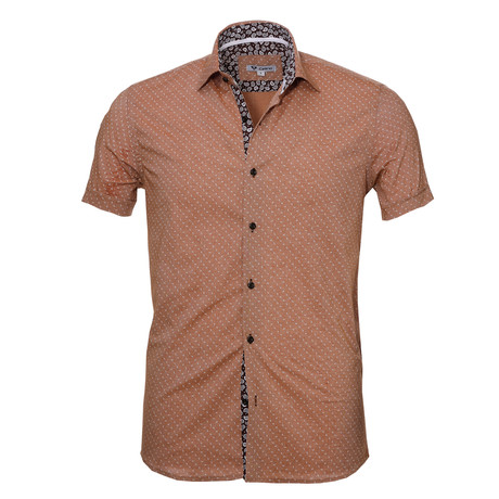Short Sleeve Button Up // Light Brown Paisley (S)