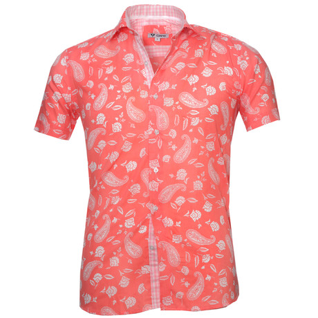 Short Sleeve Button Up // Salmon + White Paisley (S)