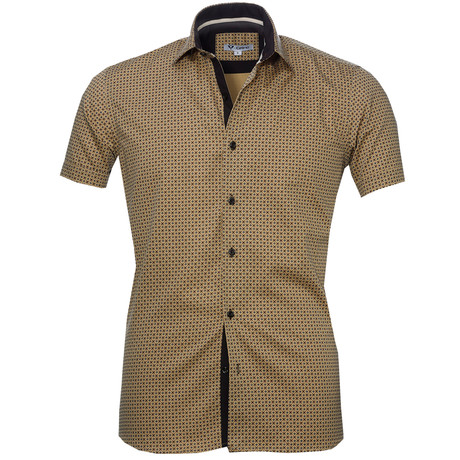 Short Sleeve Button Up // Tan + Brown Check (S)