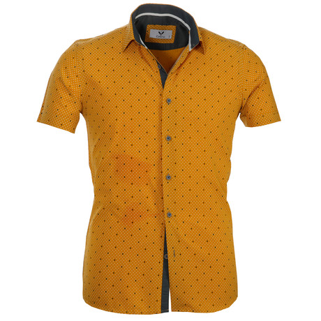 Short Sleeve Button Up // Yellow + White Dots (S)