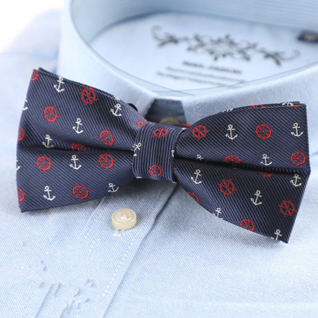 Hand Made Silk Bow Tie // Navy + Red + Gray Anchors