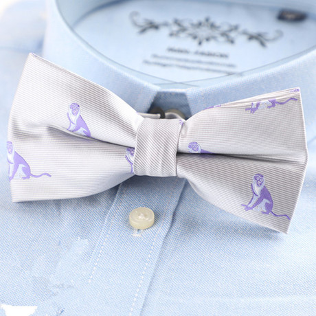Silk Bow Tie // White + Purple Monkeys