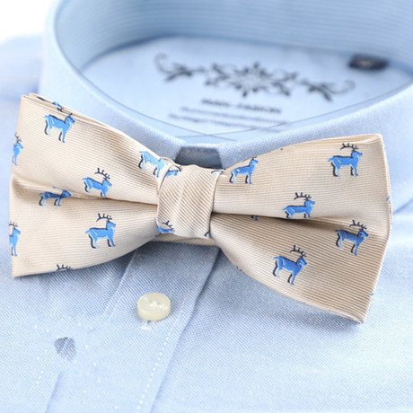 Silk Bow Tie // Cream + Blue Deer