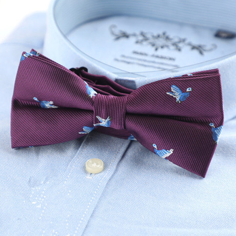 Silk Bow Tie // Deep Purple Birds