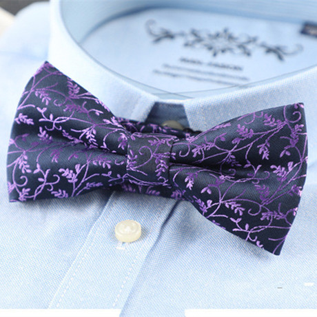 Silk Bow Tie // Blue + Purple Vines