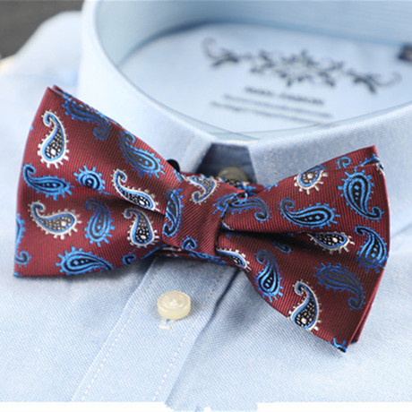 Hand Made Silk Bow Tie // Maroon + Blue + White Paisley