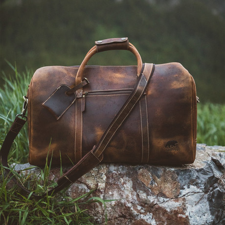 30L Leather Duffel (Antique Brown)