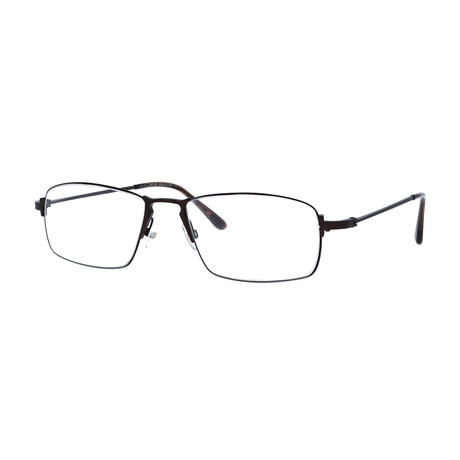Tom Ford // Men's Wire Rectangle Optical Frames // Brown