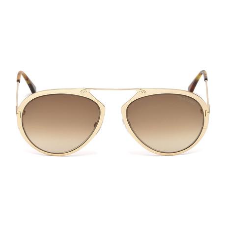 Men's Dashel Sunglasses // Shiny Rose Gold + Brown Gradient