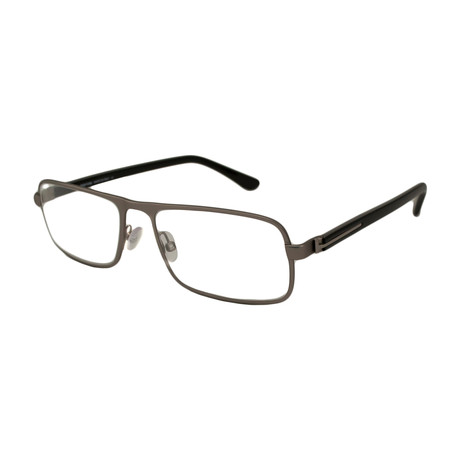 Tom Ford // Men's Modern Metal Rectangle Optical Frames // Silver + Black
