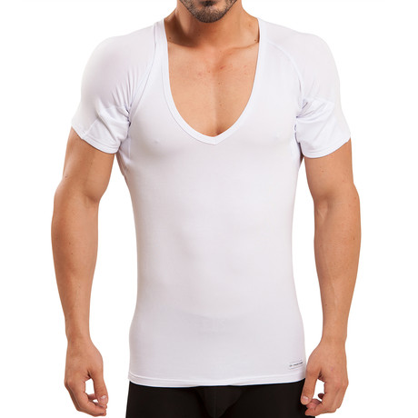 Sweat Proof Deep-V Neck Undershirt // White (XS)