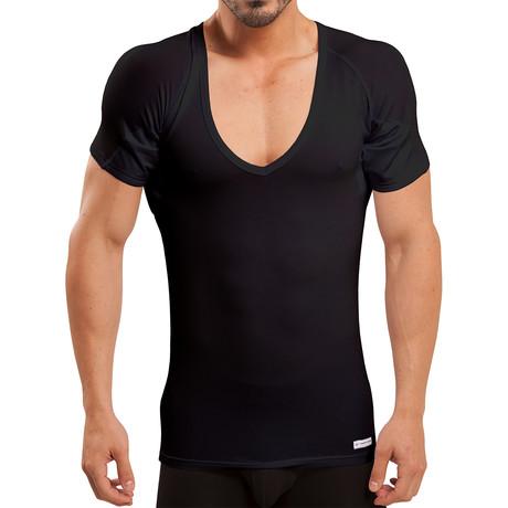 Sweat Proof Deep-V Neck Undershirt // Black (XS)