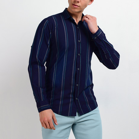 Striped Long-Sleeve Button Down Shirt // Dark Navy (S)