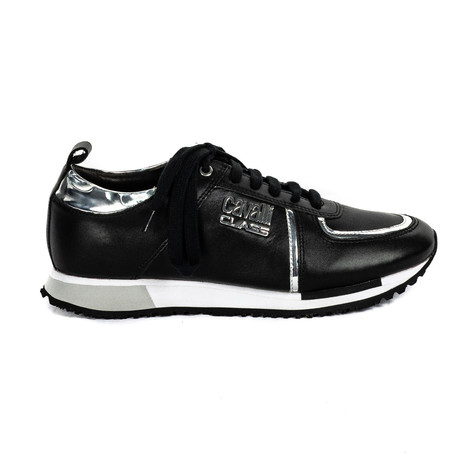 Men's Classic Lace-Up Sneakers // Black + Silver (Euro: 38)