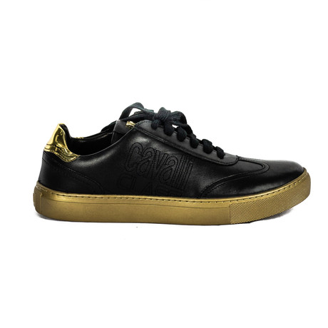 Men's Classic Lace-Up Sneakers // Black + Gold (Euro: 38)