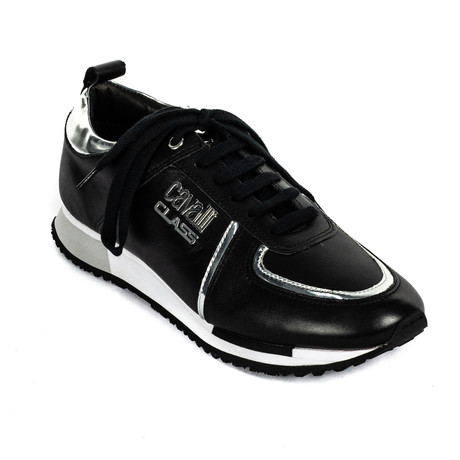 Classic Lace-Up Sneaker // Black + Silver (Euro: 39)